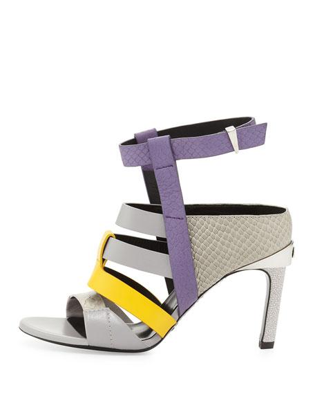 Georgia Colorblock Leather Sandal, Lilac