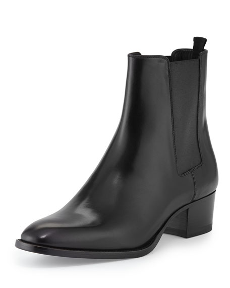 Saint Laurent Gored Leather Ankle Bootie, Black