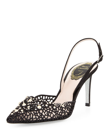 Bead-Embellished Suede Sandal, Black