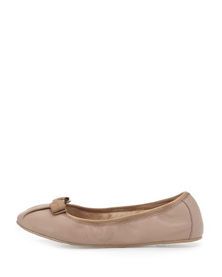Matte Leather Ballerina Flat, Nutmeg