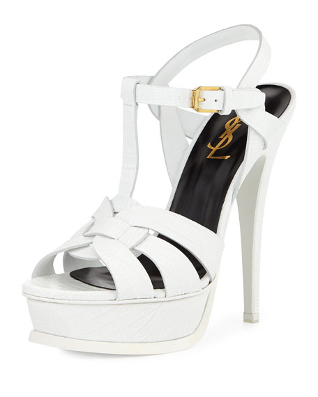 Saint Laurent Tribute Lizard-Embossed Platform Sandal, White
