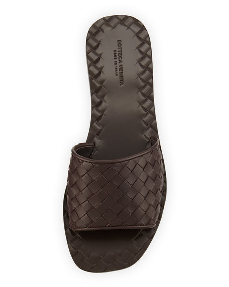 Intrecciato Napa Slide Sandal, Espresso