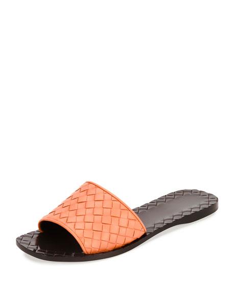 Bottega Veneta Napa Intrecciato Sandal Slide, Persimmon