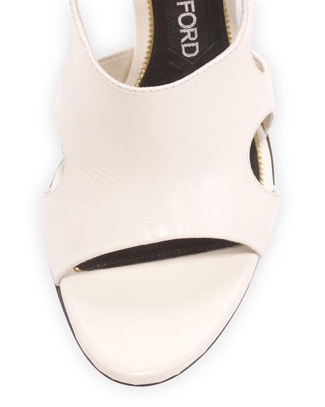 Cutout Leather 105mm Sandal, Chalk