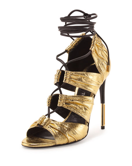 TOM FORD Metallic Laminated Eel Lace-Up Sandal Gold