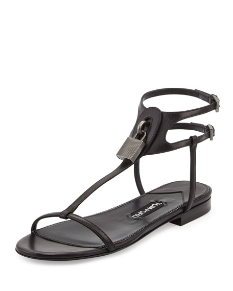 TOM FORD Leather Lock T-Strap Flat Sandal, Black