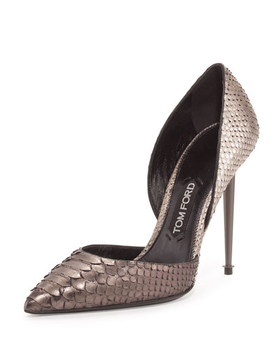 Metallic Two-Tone Python Pump, Silver/Gunmetal