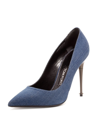 Denim 105mm Pin-Heel Pump, Jeans