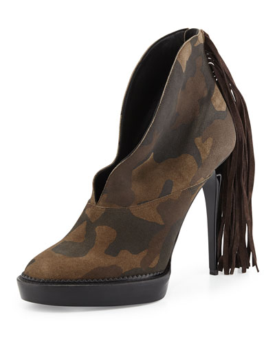 Nadine Camouflage Fringe Boot, Dark Green/Ochre