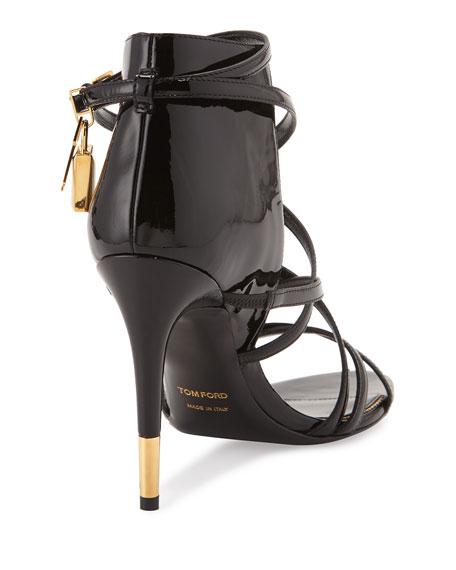 Strappy Patent Padlock Sandal, Black