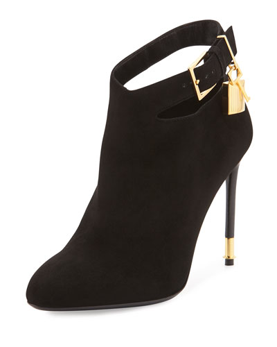 Suede Ankle-Lock Bootie, Black