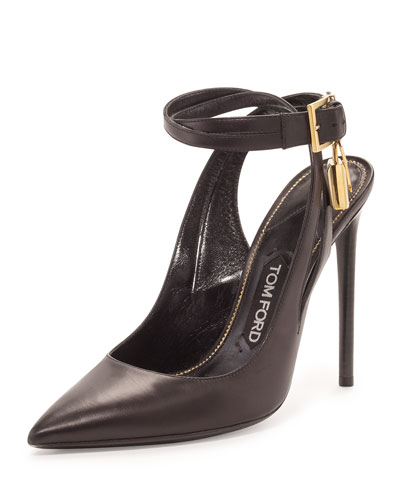 Leather Ankle-Lock 105mm Pump, Black