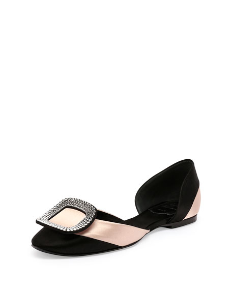 Ballerine Chips Striped d'Orsay Flat, Black/Nude