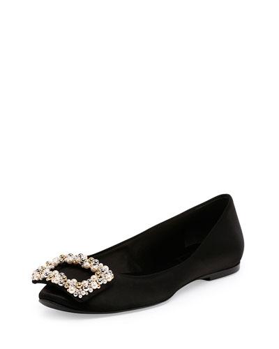Pearly Buckle Ballerine Flat, Black
