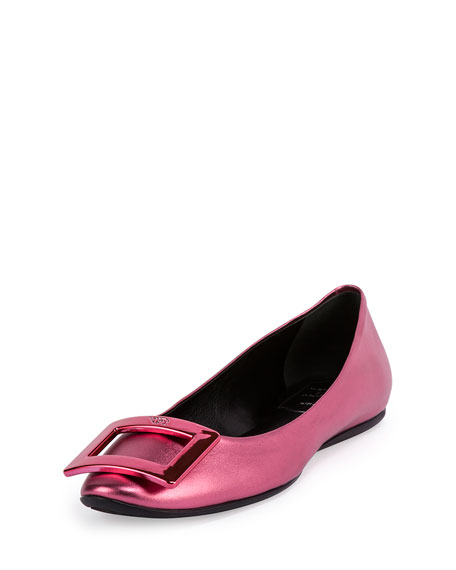 Gommette Ballerina Buckle Flat, Metallic Rose