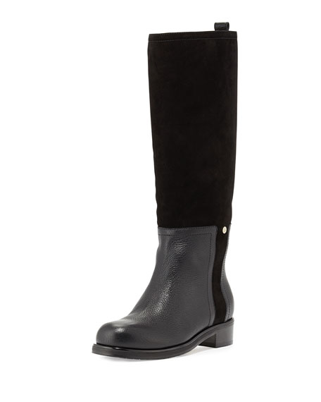 Jimmy Choo Debut Flat Leather Riding Boot, Black