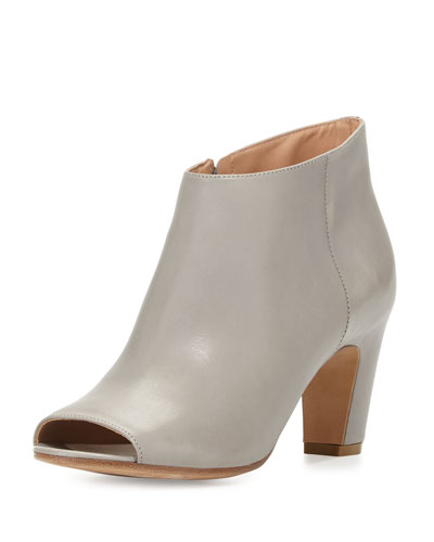 Open-Toe Leather Bootie, Ash