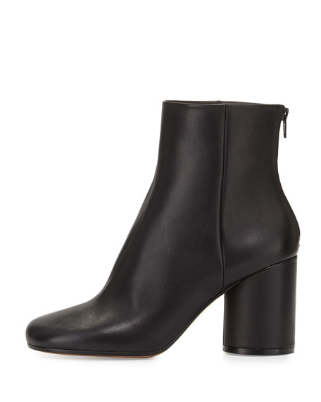 Leather Cylinder-Heel Ankle Boot, Black