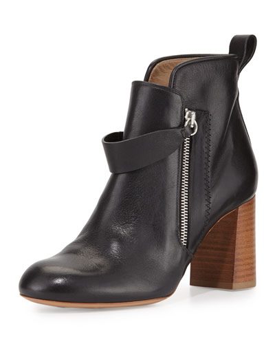 Double-Zip Leather Bootie, Black