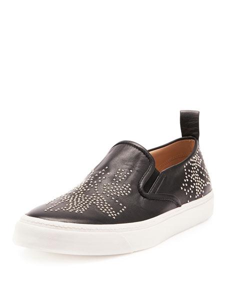 Studded Napa Skate Sneaker, Black