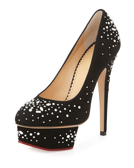 Charlotte Olympia Dolly Jeweled Platform Pump, Black
