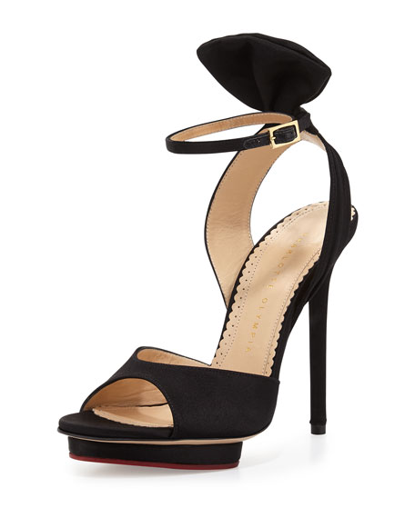 Charlotte Olympia Wallace Bow-Back Satin Evening Sandal, Black
