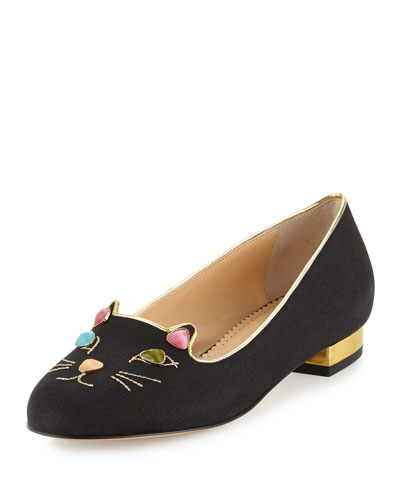 Kitty On The Rocks Linen Loafer Flat, Black