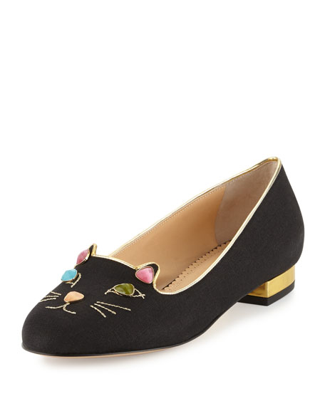 Charlotte Olympia Kitty On The Rocks Linen Loafer