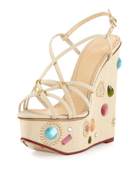 Charlotte Olympia Elizabeth Jeweled Wedge Sandals, Natural