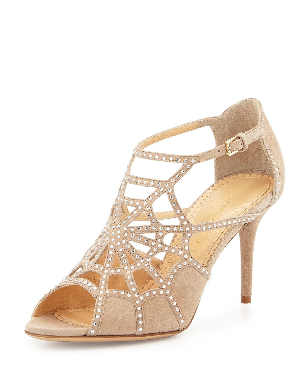 charlotte olympia lotte spider web suede sandal platinum neiman