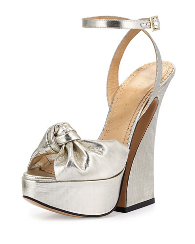 Vreeland Lamé Platform Sandal, Silver