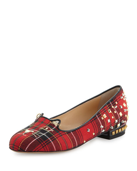 Charlotte Olympia Plaid Punk Kitty Loafer, Tartan