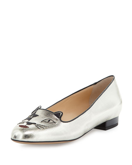 Charlotte Olympia Kiss Me Kitty Metallic Loafer, Silver