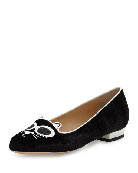 Charlotte Olympia Grunge Kitty Velvet Loafer, Black