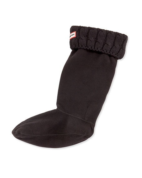 Hunter Boot Six-Stitch Cable Boot Sock, Black