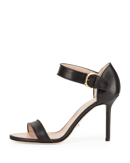 Leather Closed-Heel Sandal, Black