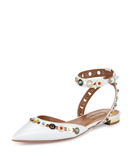 Aquazzura Byzantine Studded Leather Flat, White/Multi