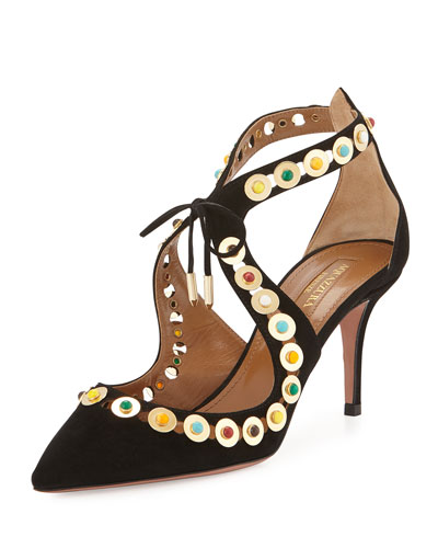 Byzantine Studded Suede Pump, Black/Multi