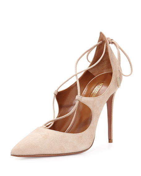 Aquazzura Christy Suede Lace-Up Pump, Nude
