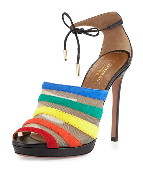 Aquazzura Graphic Striped Suede Sandal, Rainbow/Black