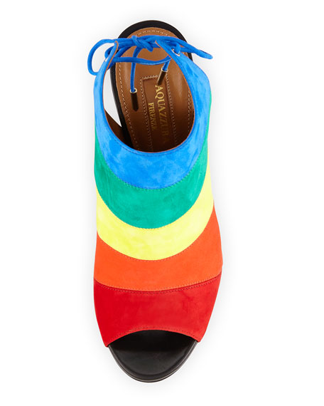 Rainbow Striped Suede Sandal, Multi