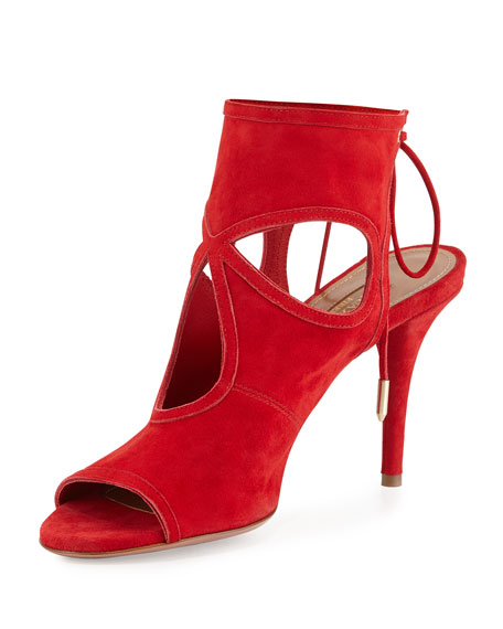 Aquazzura Sexy Thing Suede 105mm Sandal, Lipstick