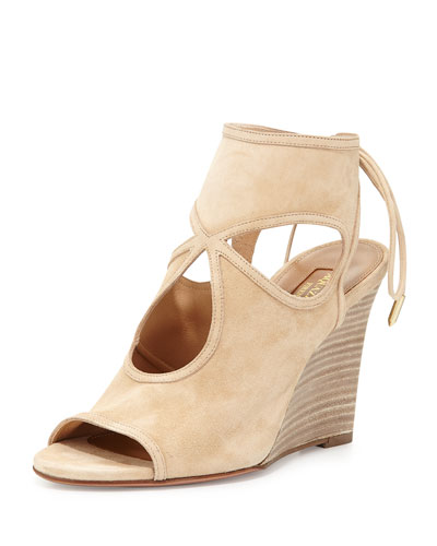Sexy Thing Suede Wedge Sandal, Nude