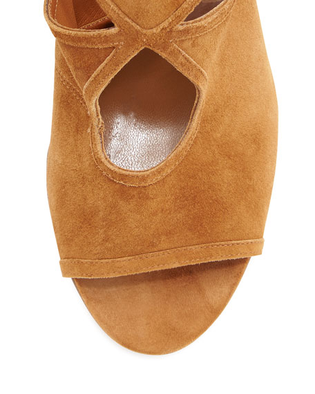 Sexy Thing Suede 85mm Wedge Sandal, Cognac