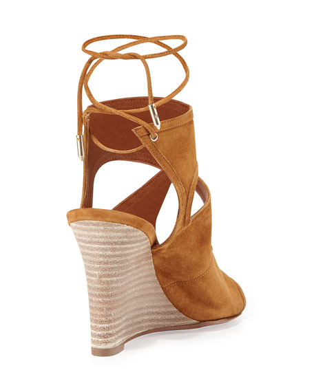 Sexy Thing Suede 85mm Wedge Sandals, Cognac