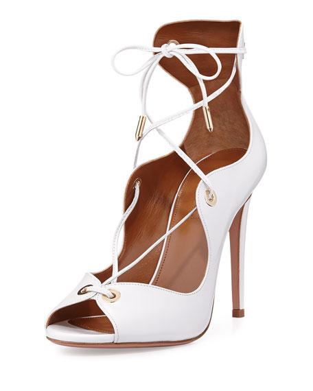 Aquazzura Tango Curvy Lace-Up Sandal, White
