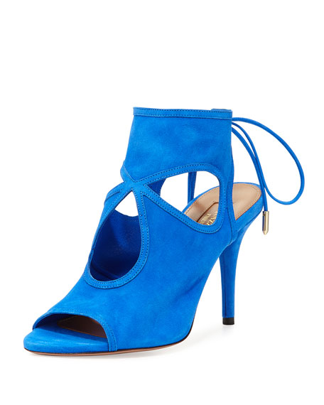Aquazzura Sexy Thing Suede Cutout Sandal, Mondrian Blue