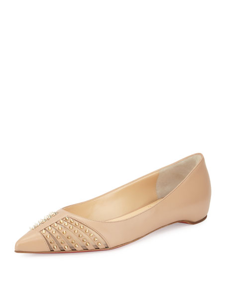 Baretta Studded Red Sole Skimmer Flat, Nude