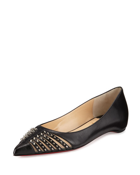 white christian louboutin sneakers - Christian Louboutin Baretta Studded Red Sole Skimmer Flat, Black