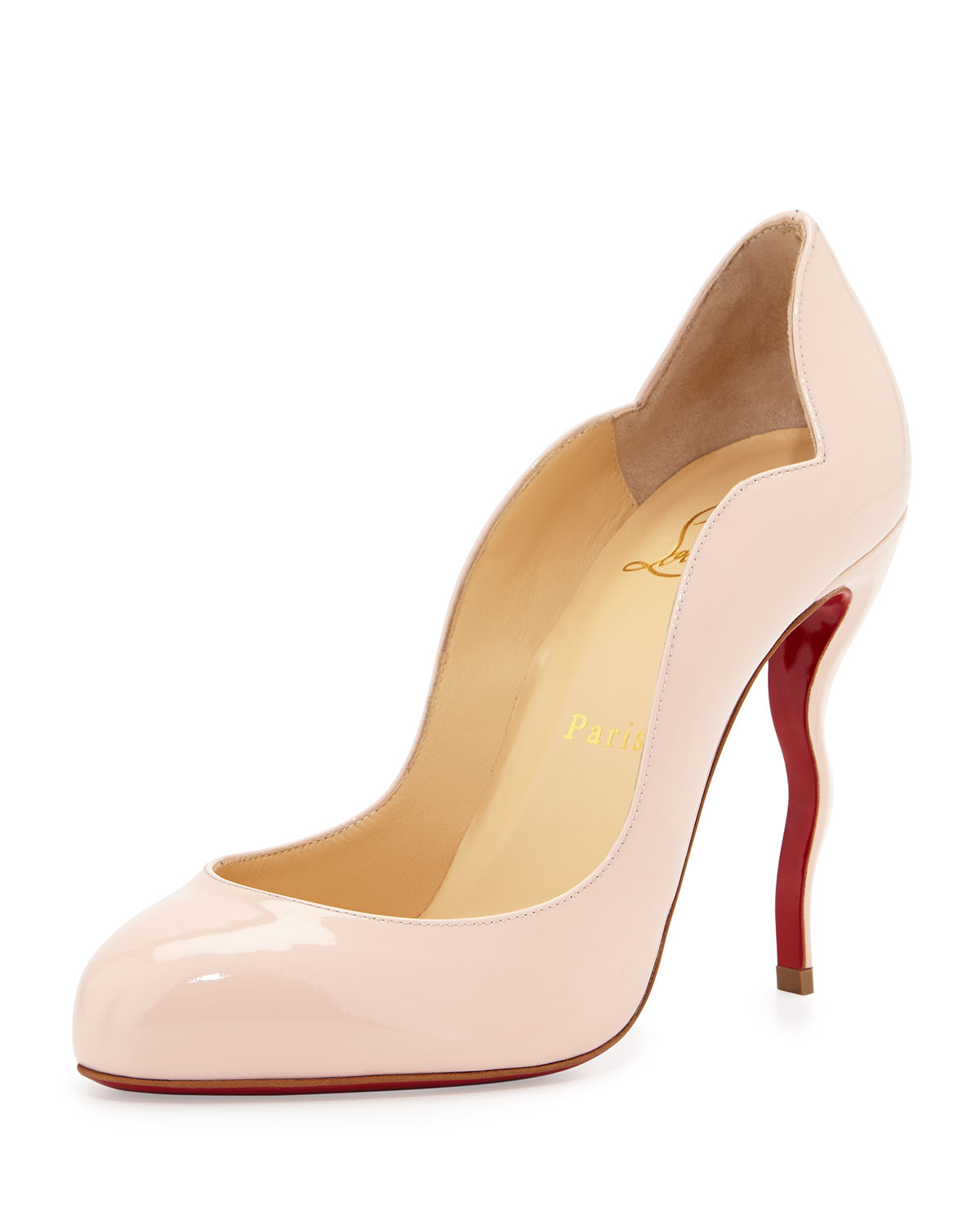 2b71574d98c5 Christian Louboutin Wawy Dolly Patent Squiggly-Heel Red Sole Pump ...